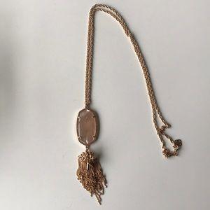 Pink Rose Quartz Rayne Tassel long necklace